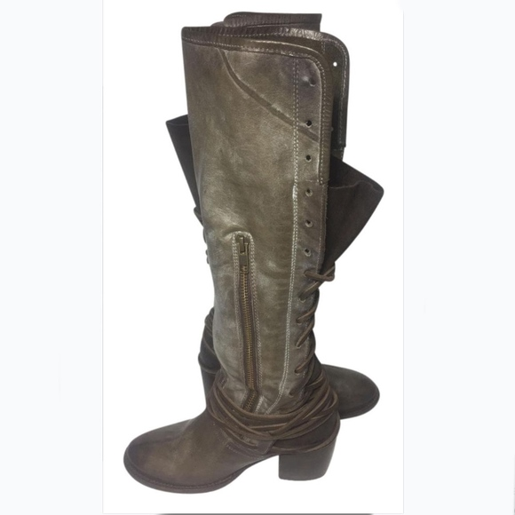 Freebird By Steven Coal Knee High Riding Boots Size 6 Olive Brown Distressed